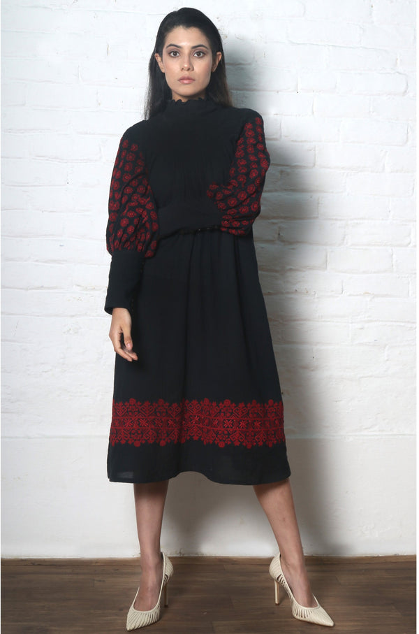 Chandrima-Black Smocked Kala Cotton Dress Kurta-INDIASPOPUP.COM