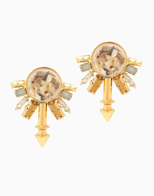 CHIC THERAPY GOLD FINISH STONE STUDDED EARRINGS