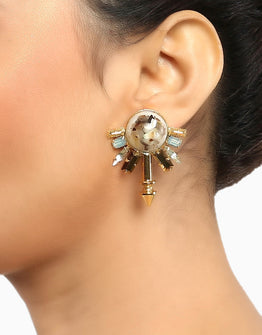 Gold Finish Stone Studded Earrings