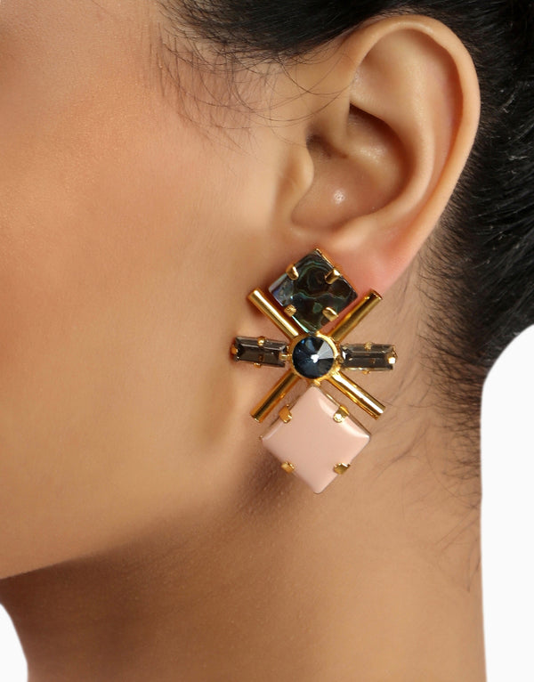 Chic Therapy - Gold Finish Swarovski Earrings - INDIASPOPUP.COM