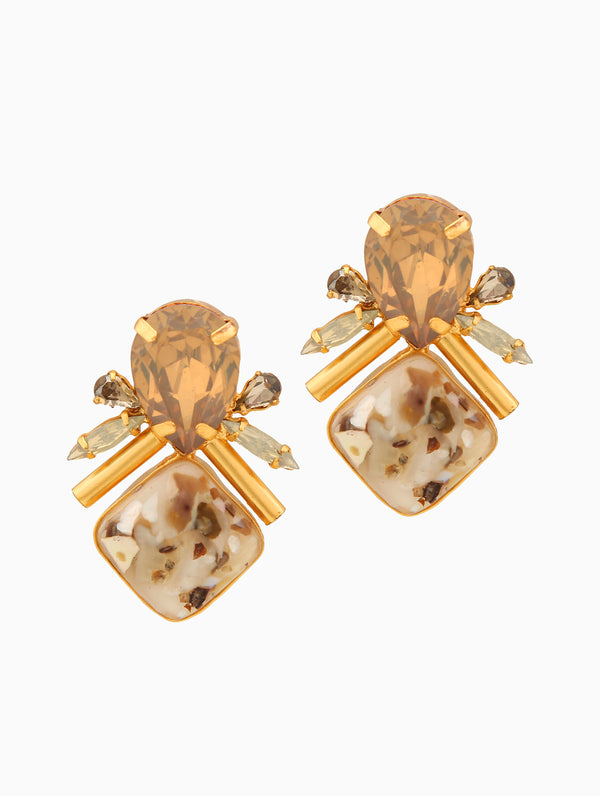 Chic Therapy - Gold Pearl Stone Nude Studs - INDIASPOPUP.COM