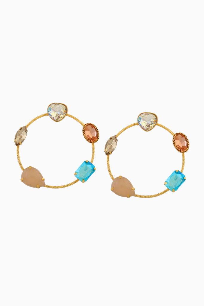 Chic Therapy - Multi Stone Hoops - INDIASPOPUP.COM