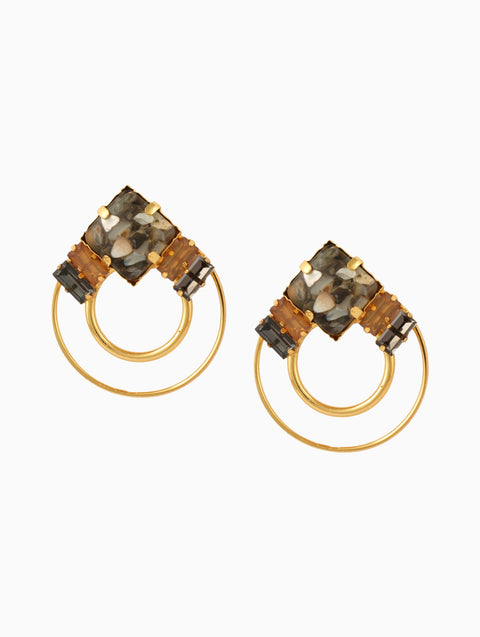 Chic Therapy - Grey Double Stone Hoops - INDIASPOPUP.COM