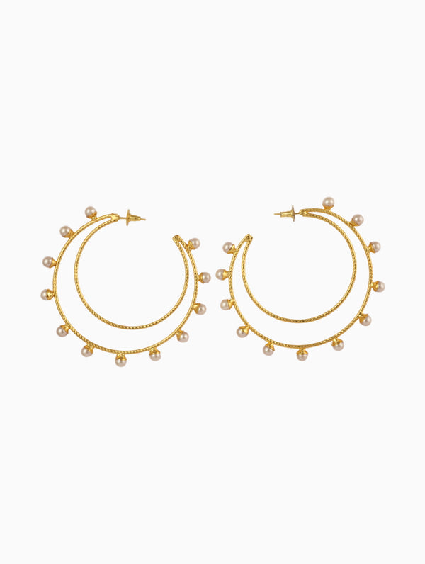 Chic Therapy - Gold Double Big Hoops - INDIASPOPUP.COM