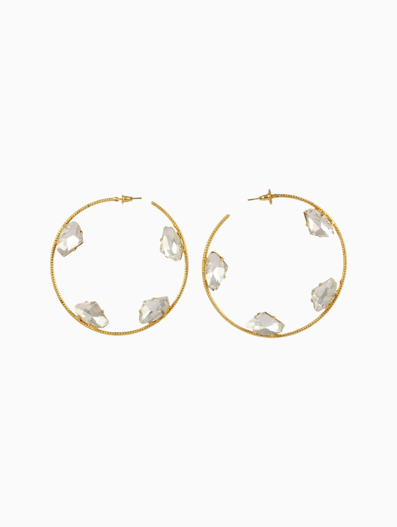 Chic Therapy - Gold Stones Big Hoops - INDIASPOPUP.COM