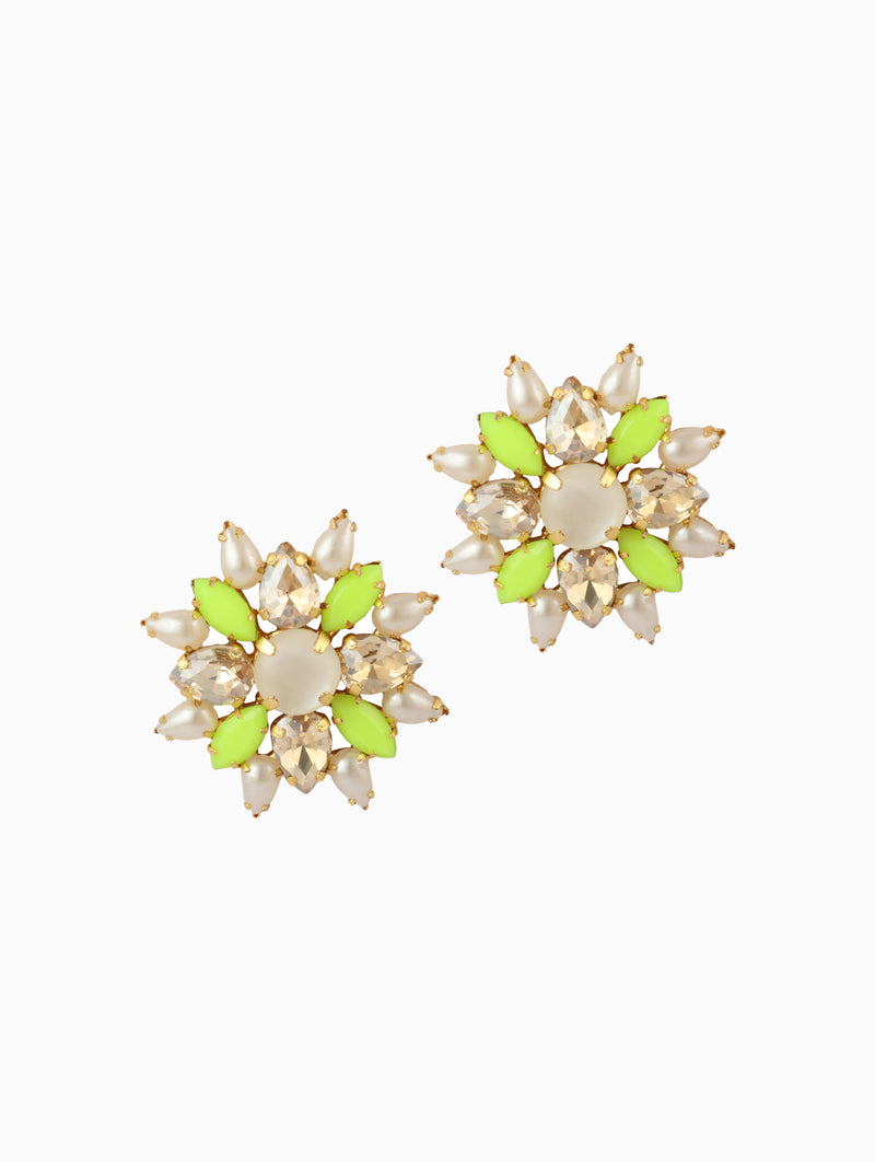 Chic Therapy - White & Green Stone Neon Studs - INDIASPOPUP.COM