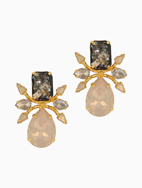 Chic Therapy - Rose Statement Stone Studs - INDIASPOPUP.COM