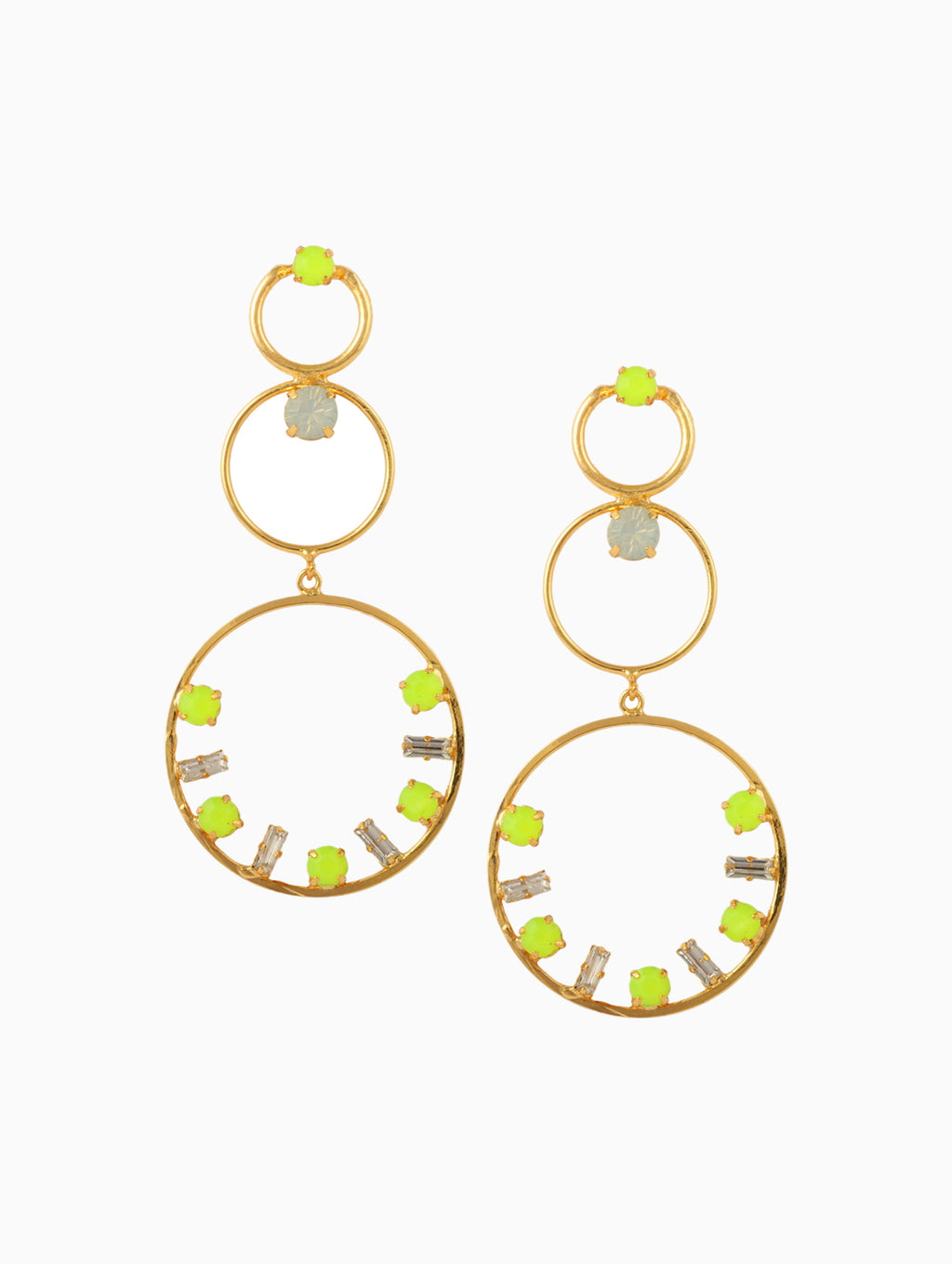 Chic Therapy - White & Green Stone Statement Hoops - INDIASPOPUP.COM
