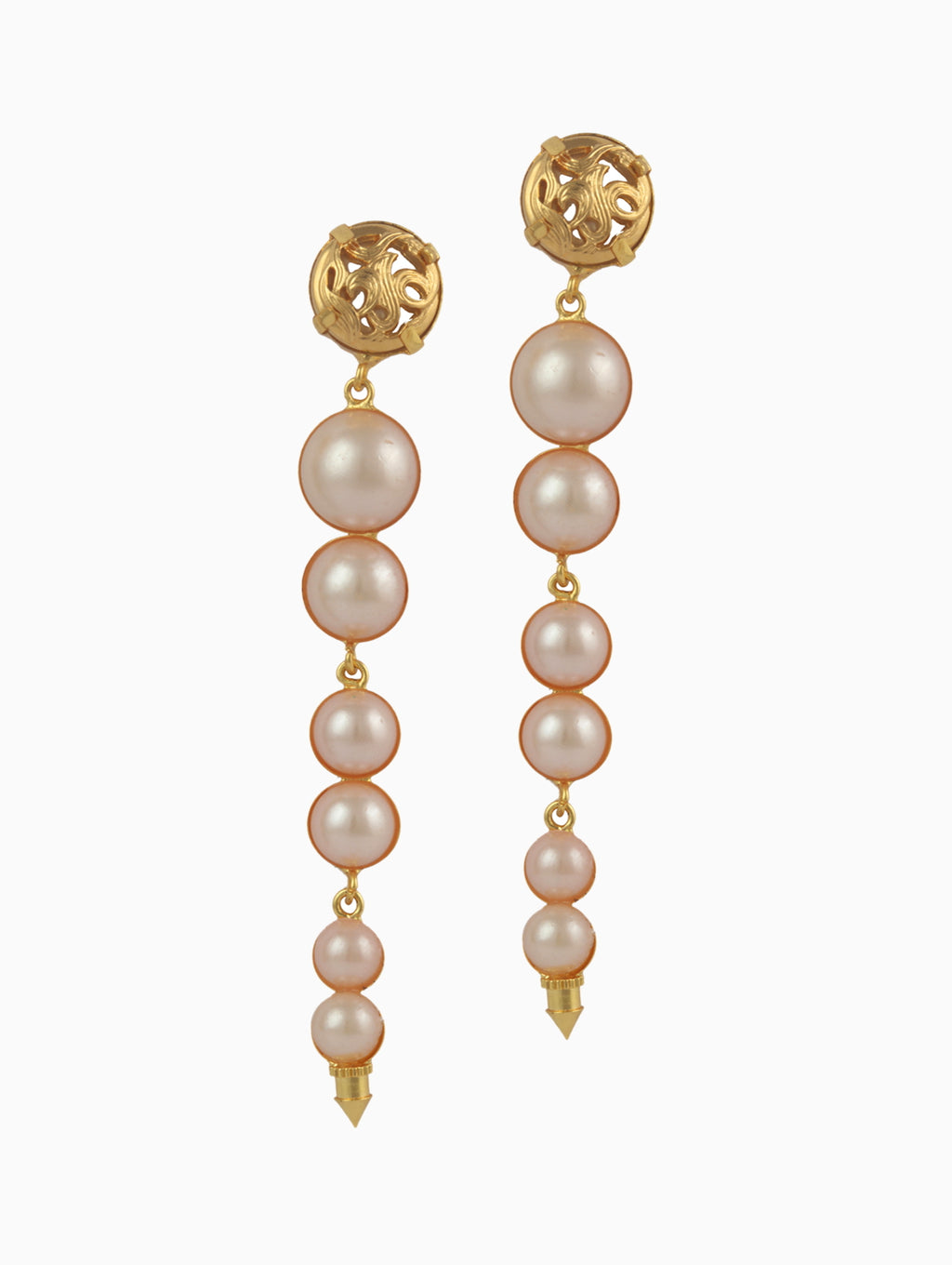 White Pearl Long Statement Earrings
