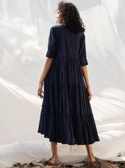Khara Kapas-Blue Tiered Midi Dress-INDIASPOPUP.COM