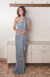 The Little Black Bow - Blue  Serenity Saree With Blouse - INDIASPOPUP.COM