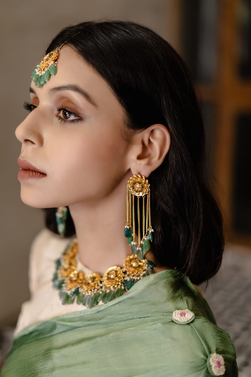 Hyperbole-Jade Green & Marigold Dangler Earrings-INDIASPOPUP.COM