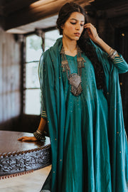 Paulmi & Harsh-Teal Blue Anarkali Set-INDIASPOPUP.COM