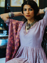 Paulmi & Harsh-Mauve Anarkali Set-INDIASPOPUP.COM