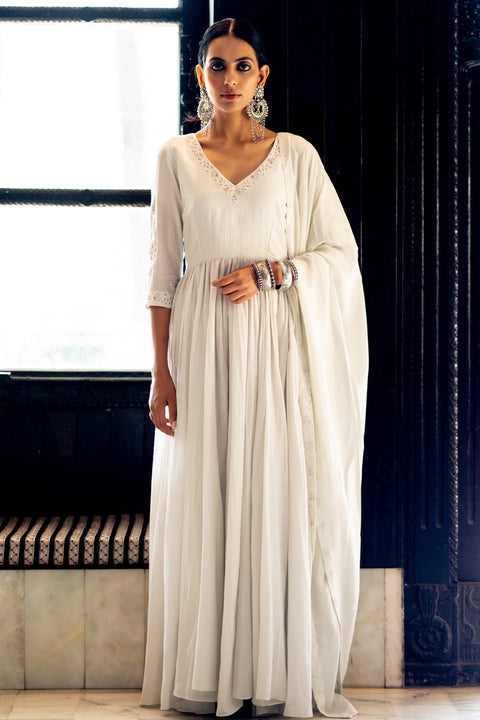 Paulmi & Harsh-Pearl White Anarkali Set-INDIASPOPUP.COM