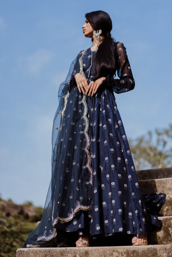 Paulmi & Harsh-Navy Printed Anarkali Set-INDIASPOPUP.COM
