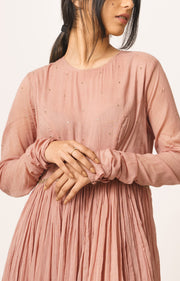 Dot-Old Rose Anarkali Kurta-INDIASPOPUP.COM