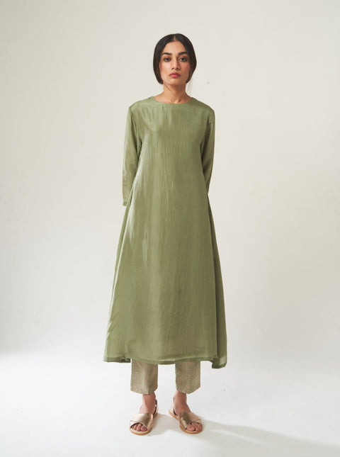 Dot-Sage Green Kurta Set With Dupatta-INDIASPOPUP.COM