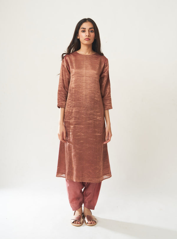 Dot-Dark Oldrose Kurta Set With Dupatta-INDIASPOPUP.COM