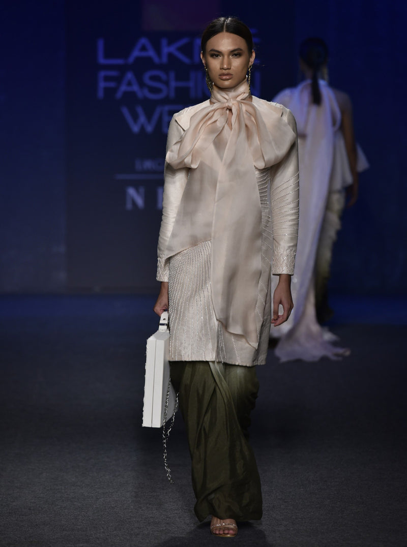 Cream & Olive Green Jacket With Dhoti