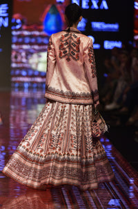 Rajdeep Ranawat-Apricot Printed Jacket With Skirt-INDIASPOPUP.COM