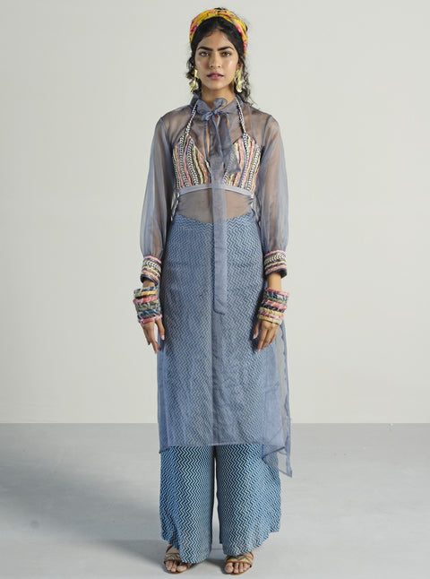 Rishi & Vibhuti-Grey Blouse With Pants & Cape-INDIASPOPUP.COM