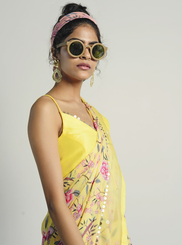 Rishi & Vibhuti-Yellow Saree With Blouse-INDIASPOPUP.COM