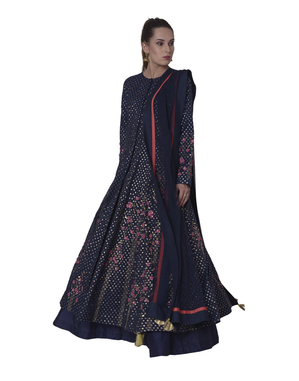 5X By Ajit Kumar - Navy Blue Embroidered Panel Anarkali - INDIASPOPUP.COM