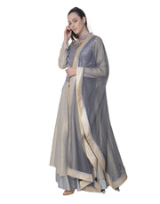 5X By Ajit Kumar - Grey Elongated Anarkali - INDIASPOPUP.COM