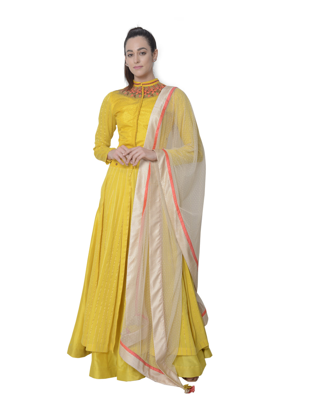 5X By Ajit Kumar - Light Mustard Elongated Anarkali - INDIASPOPUP.COM
