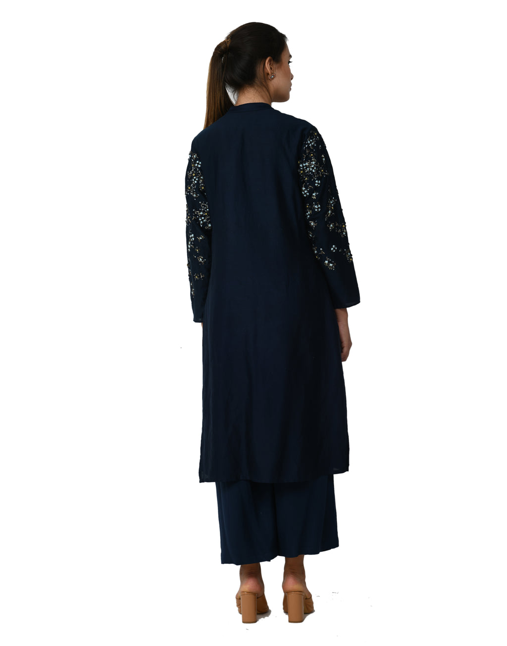 5X By Ajit Kumar - Navy Blue Placket Floral Kurta Set - INDIASPOPUP.COM