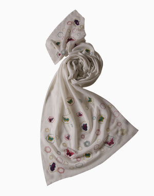 VILASA IVORY BUTTERFLY EMBROIDERED SCARF