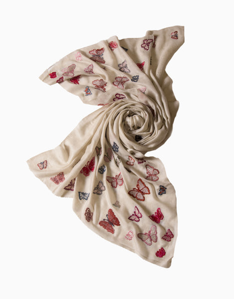 VILASA IVORY BUTTERFLY EMBROIDERED CASHMERE SCARF
