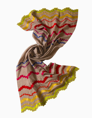 Vilasa - Beige Embroidered Cashmere Scarf - INDIASPOPUP.COM