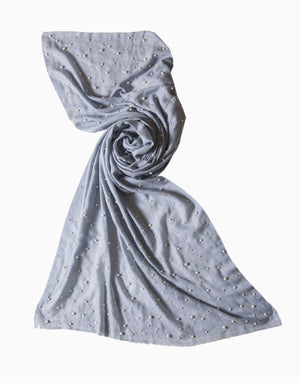 Vilasa - Light Blue Pearl Embroidered Scarf - INDIASPOPUP.COM