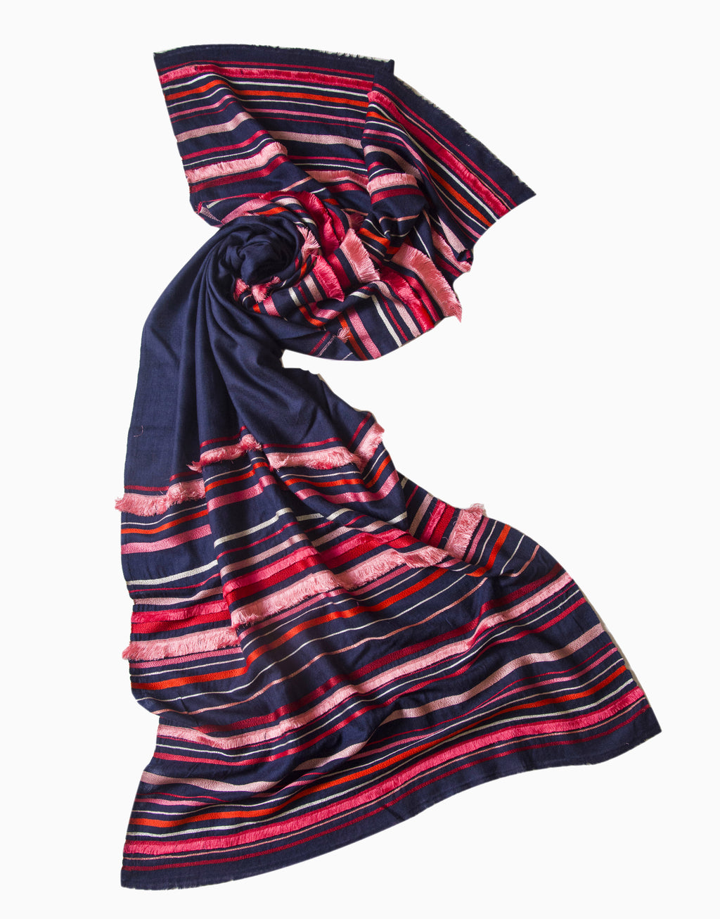 VILASA NAVY EMBROIDERED WOOL SCARF
