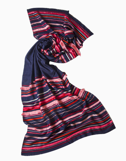 Vilasa - Navy Embroidered Wool Scarf - INDIASPOPUP.COM