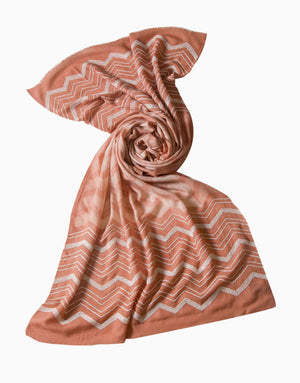 VILASA PEACH EMBROIDERED WOOL SCARF