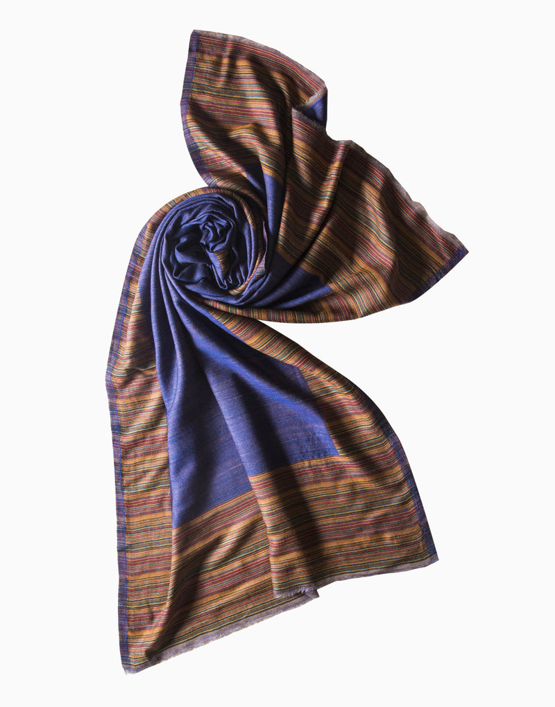VILASA STRIPES & SOLID REVERSIBLE STOLE