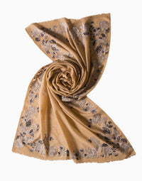 VILASA PEACH EMBROIDERED PASHMINA SCARF