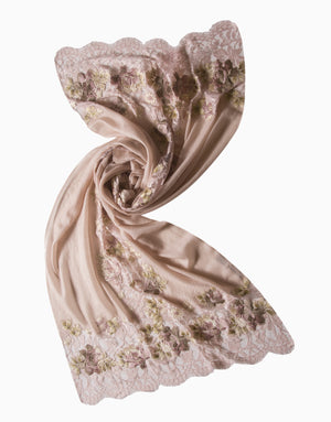 VILASA EMBROIDERED FRENCH LACE CASHMERE SCARF