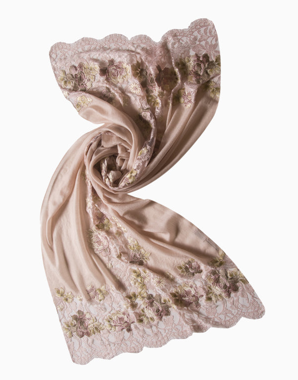 Vilasa - Embroidered French Lace Cashmere Scarf - INDIASPOPUP.COM