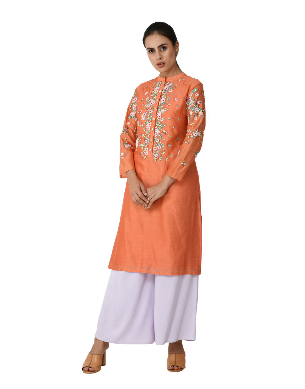 5X By Ajit Kumar - Powder Orange Placket Floral Kurta Set - INDIASPOPUP.COM
