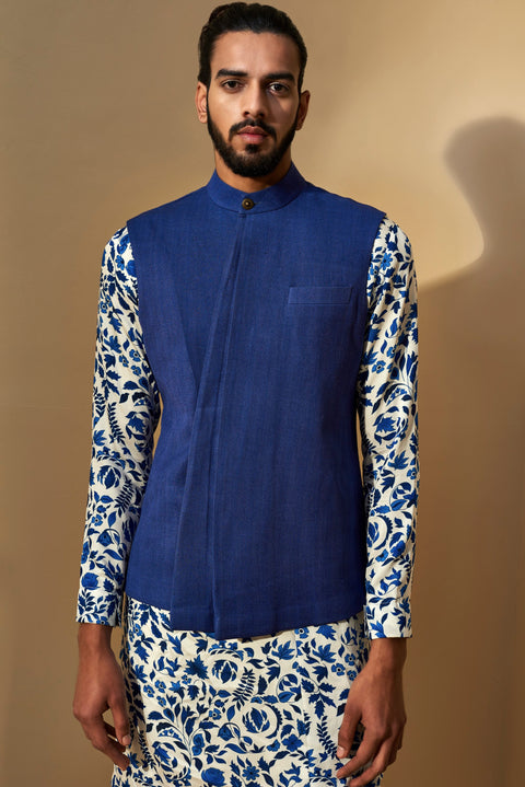 Dhruv Vaish-Cobalt Three Panel Jawahar Jacket-INDIASPOPUP.COM