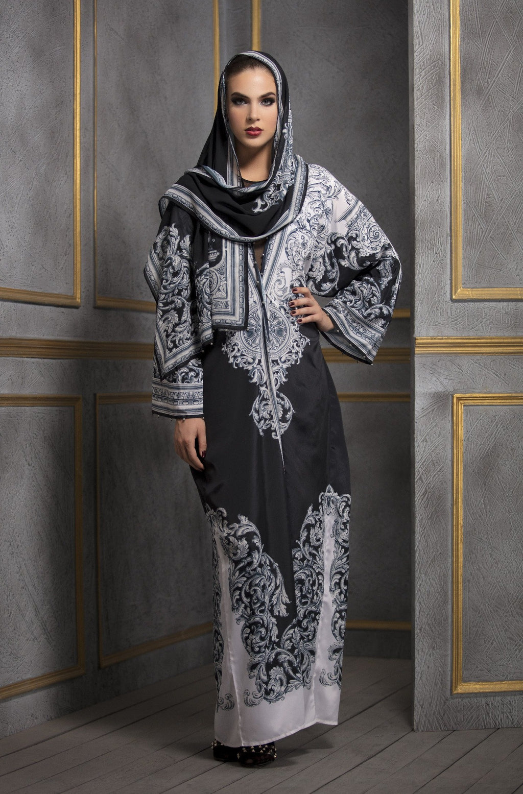 Rajdeep Ranawat-Black & White Kimono Dress With Stole-INDIASPOPUP.COM