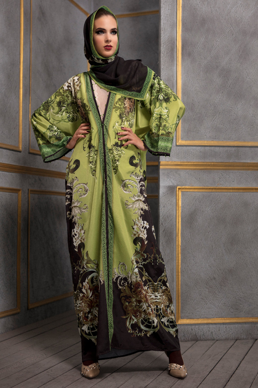 Rajdeep Ranawat-Lime Kimono Dress With Stole-INDIASPOPUP.COM