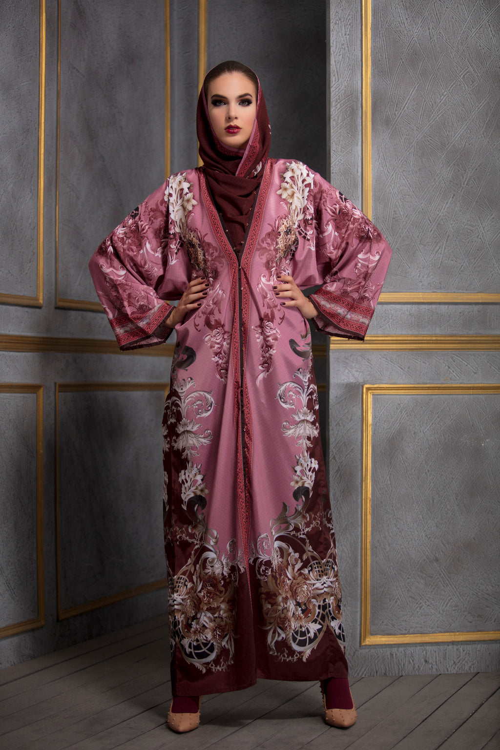 Rajdeep Ranawat-Rasberry Kimono Dress With Stole-INDIASPOPUP.COM
