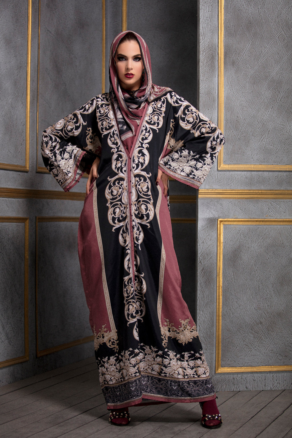 Rajdeep Ranawat-Raspberry & Black Kimono Dress With Stole-INDIASPOPUP.COM