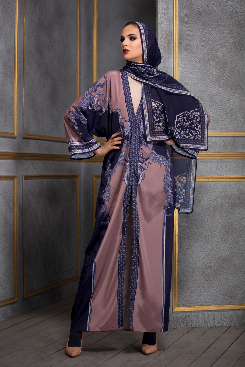 Rajdeep Ranawat-Old Rose & Navy Kimono Dress With Stole-INDIASPOPUP.COM