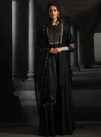 Anju Modi-Black Asymmetrical Embroidered Kurta Set-INDIASPOPUP.COM